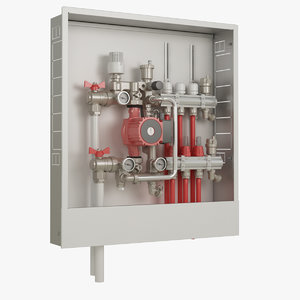 floor heating manifold 3D model