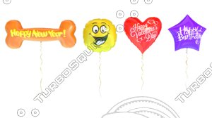 3D balloons celebrating holiday