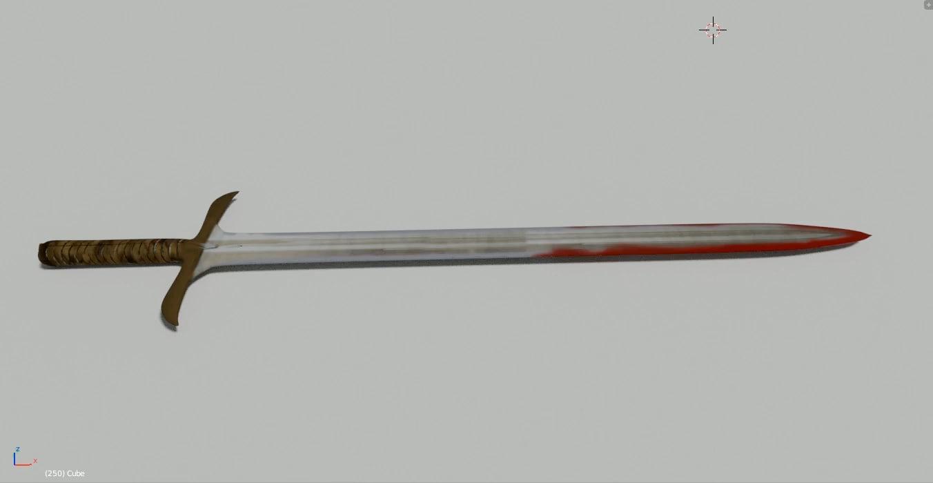 3D bloody sword