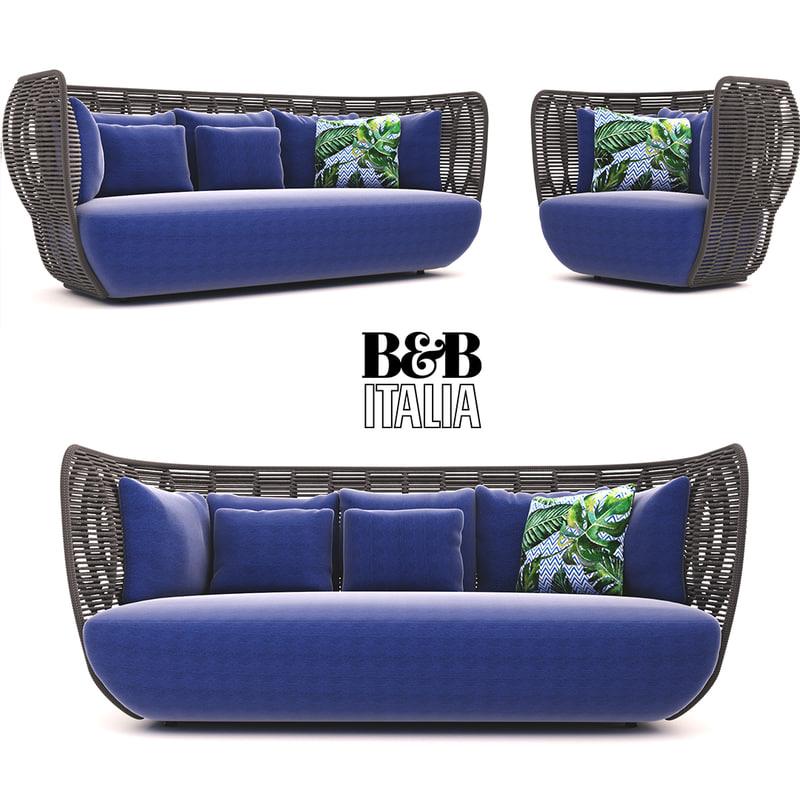3D b italia bay sofa armchair