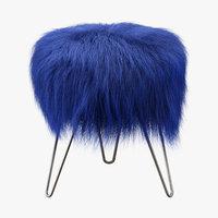 stool fur blue 3D