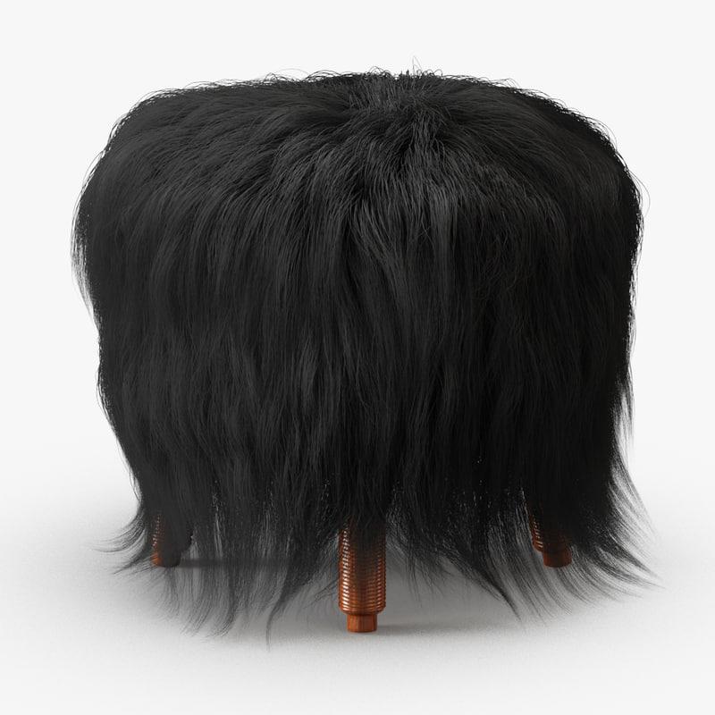 wool icelandic sheepskin stool 3D