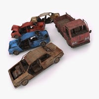 3D destroyed cars model