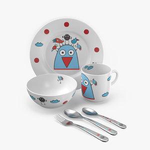 set children s tableware 3D model