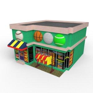 3D cartoony sports store model