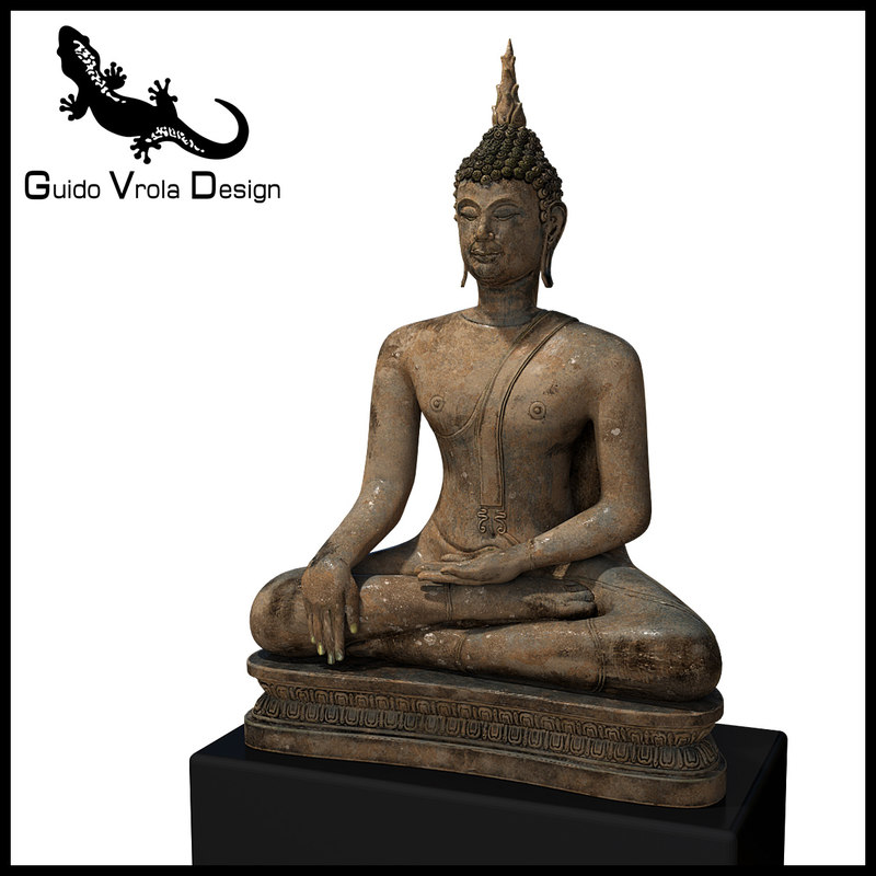 3D old statue buddha