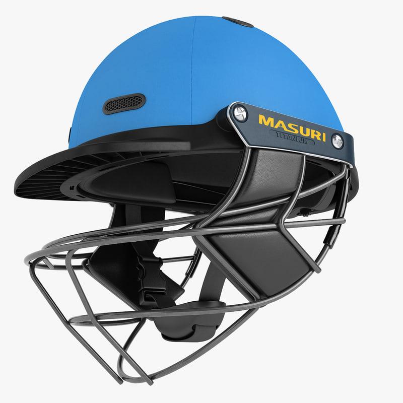3D model cricket helmet masuri