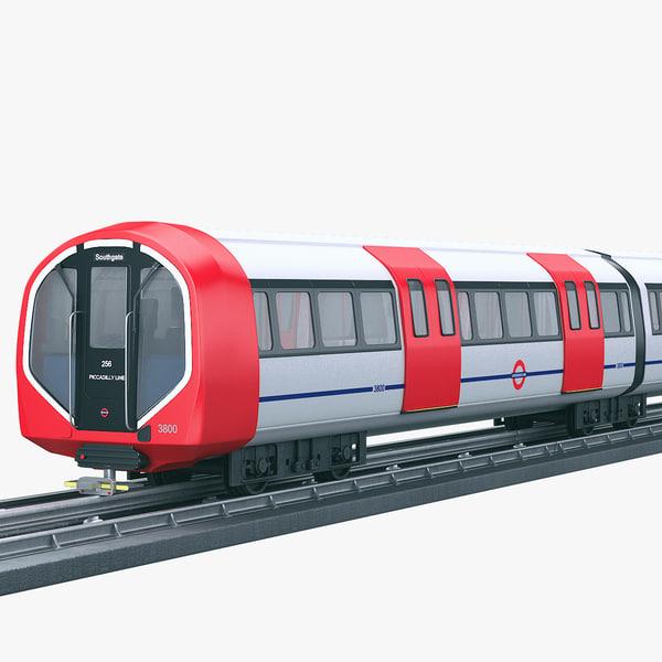 modern underground train subway 3D model