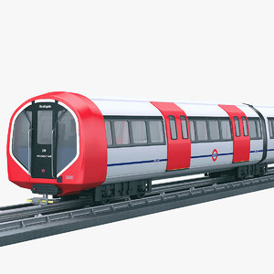 modern underground train subway 3D model