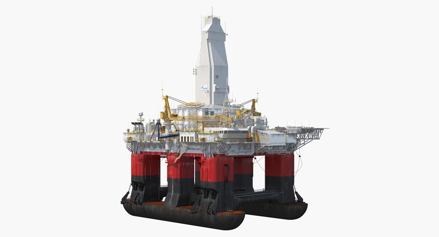 semi submersible drilling rig 3D model