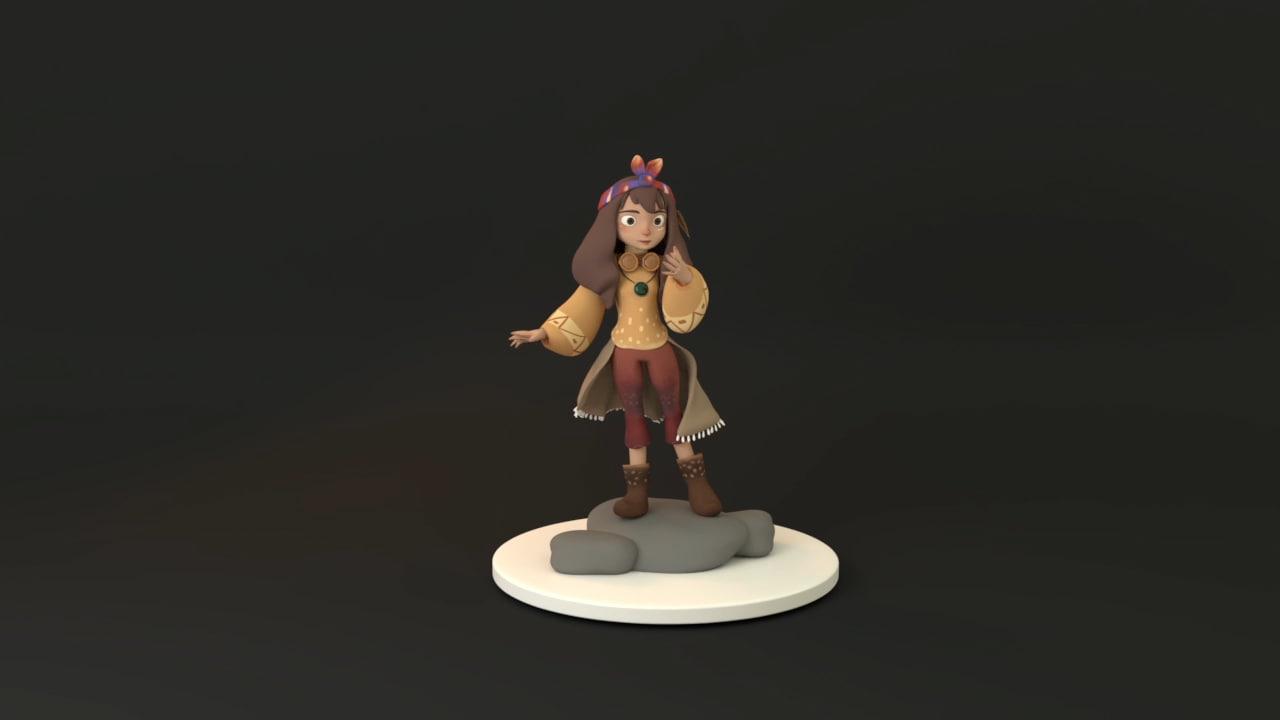 3D female kids character model
