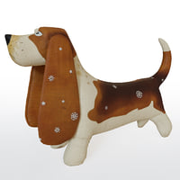 basset dog fabric toy 3D model