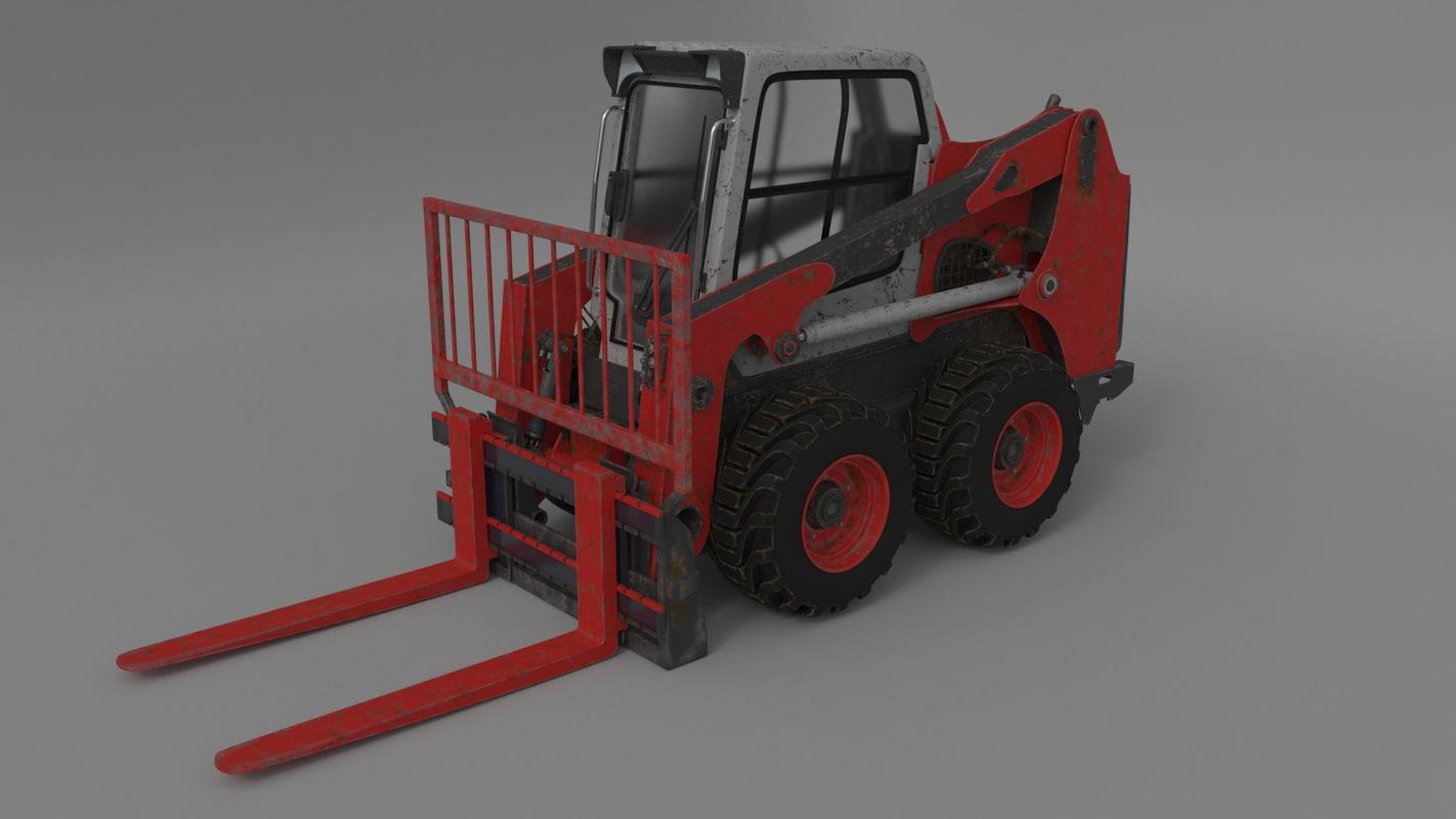 bobcat skid steer forklift 3D