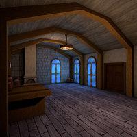 living medieval interior 3D model