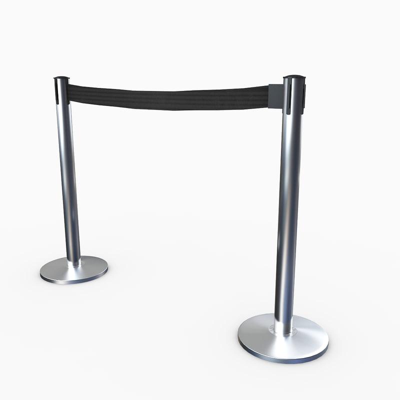 3D airport stanchions metal short
