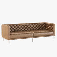 Photorealistic Savile Dark Saddle Brown Leather Tufted Sofa