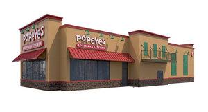 exterior popeyes signage doors 3D model