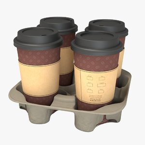 3D coffee carrier cups model