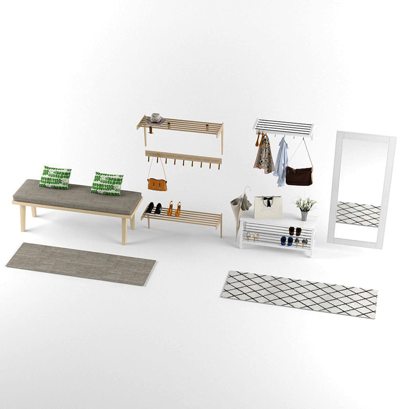 3D shoe rack hanging clothes model