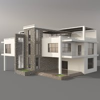 villa building structure 3D model