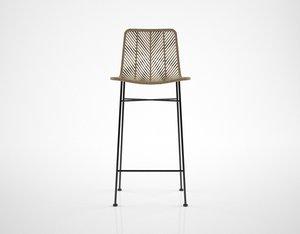 3D bloomingville natural rattan bar stool