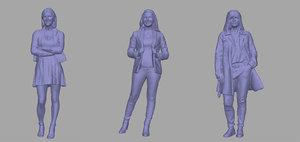 women backgrounds games 3D model