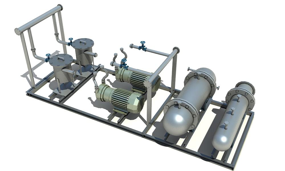 oil heating pumping skid 3D model