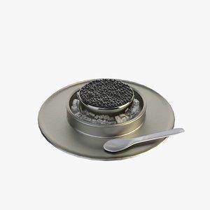 caviar spoon plate 3D