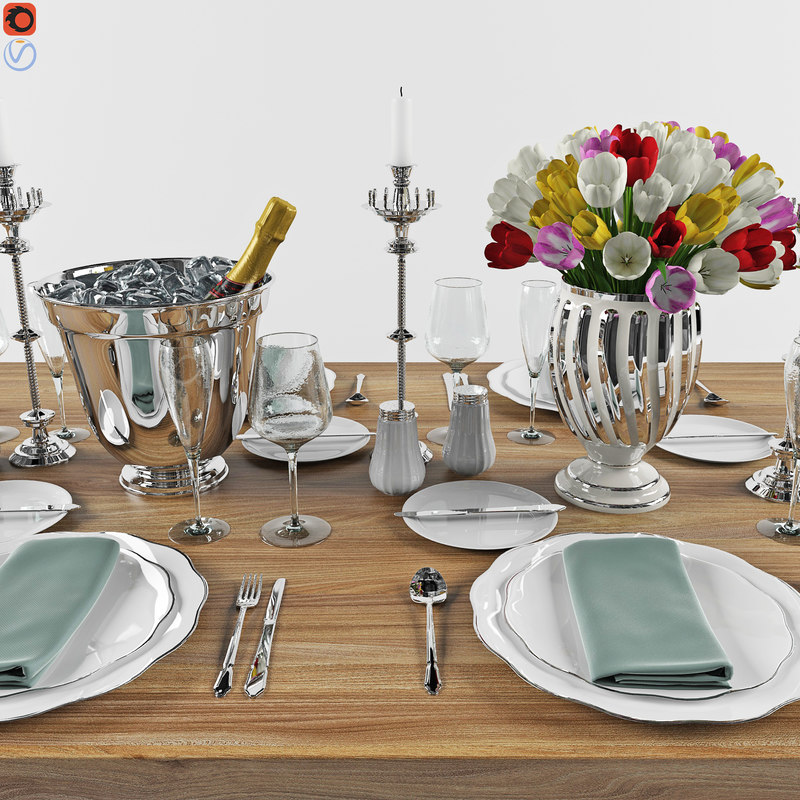 3D set dinner table 1 model
