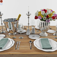 3D set dinner table 1 model