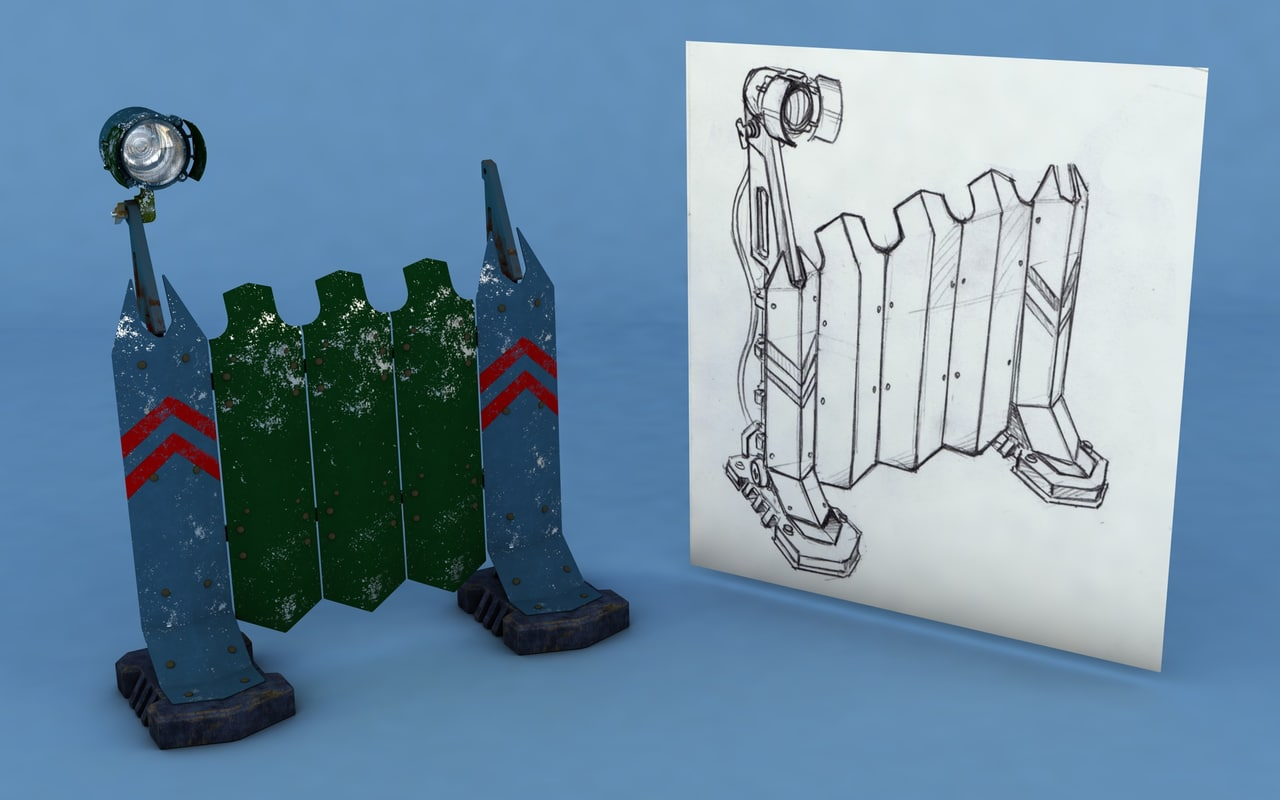 3D model futuristic fence