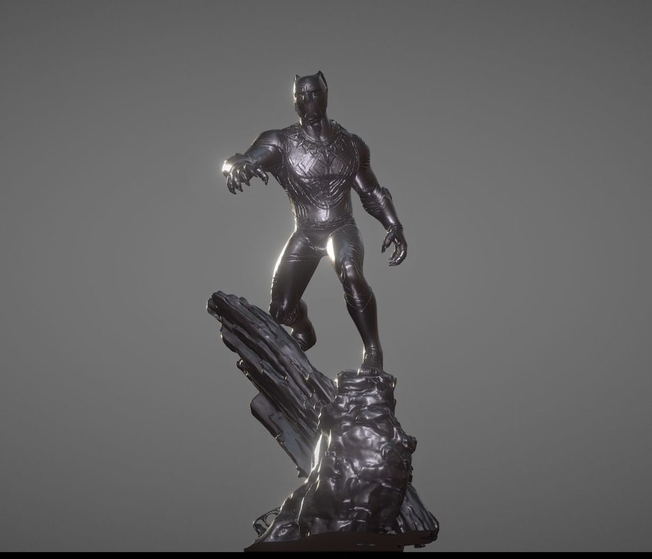 3D model black panther inspirited diorama