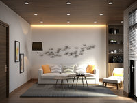 3DS max Model Full Materials + settings Living Room