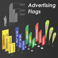 3D model advertising flags
