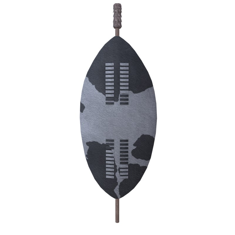 3D model historical zulu war shield