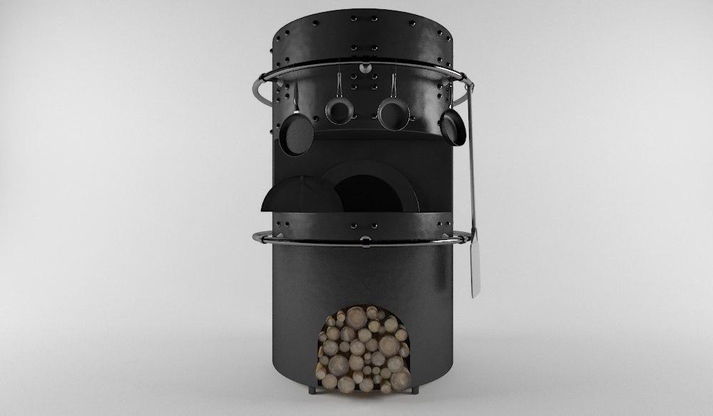 3D wood oven
