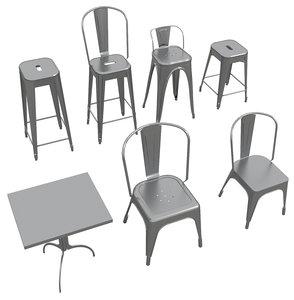 3D tolix furniture stool - model