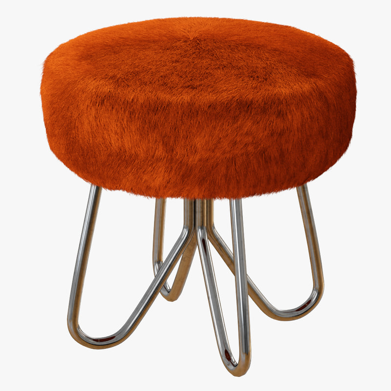wool vintage ottoman stool 3D model