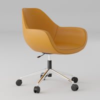 3D model orange leather office chair