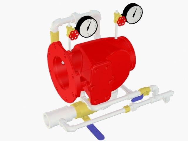alarm check valve vertical 3D model