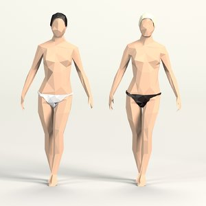 cartoon toon female 3D model