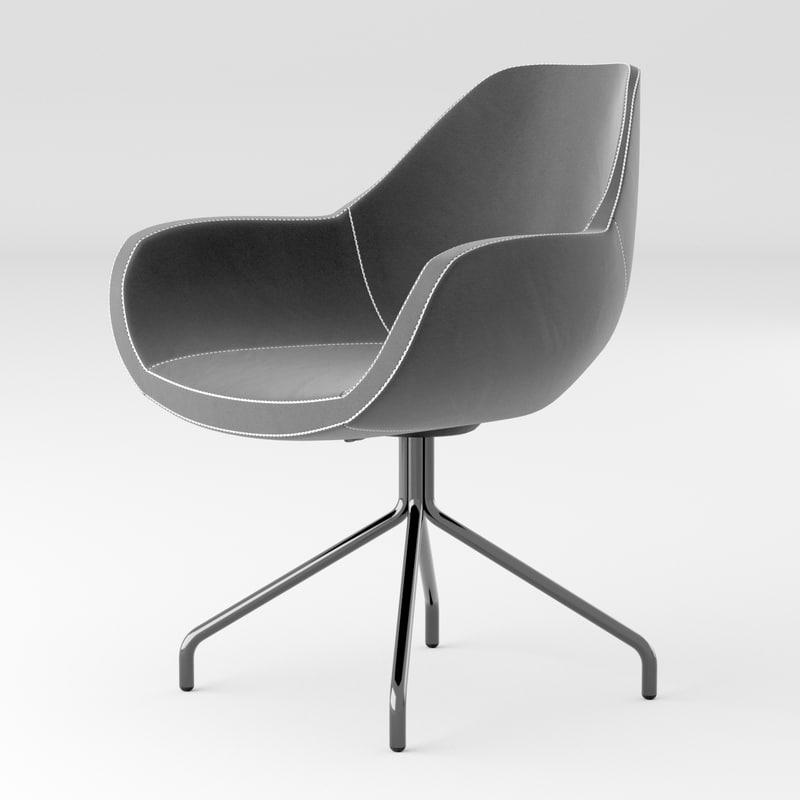 modern black fabric office chair 3D model