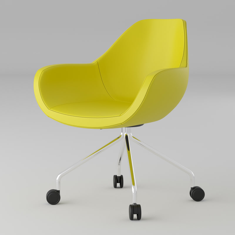 3D modern yellow leather office chair