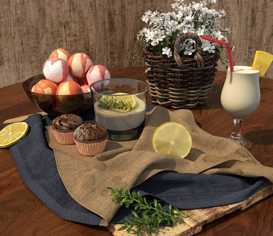 3D model food drink