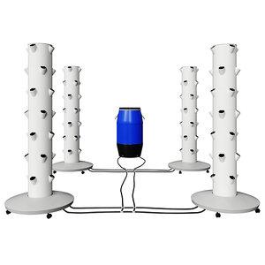 hydroponics aeroponics sistem growing 3D