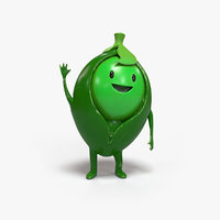 pea cartoon character 3D model