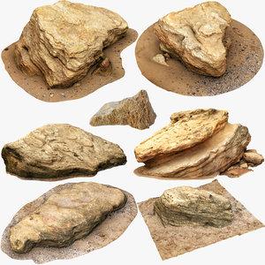 3D model limestones small size