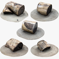 3D rustic wood stumps model