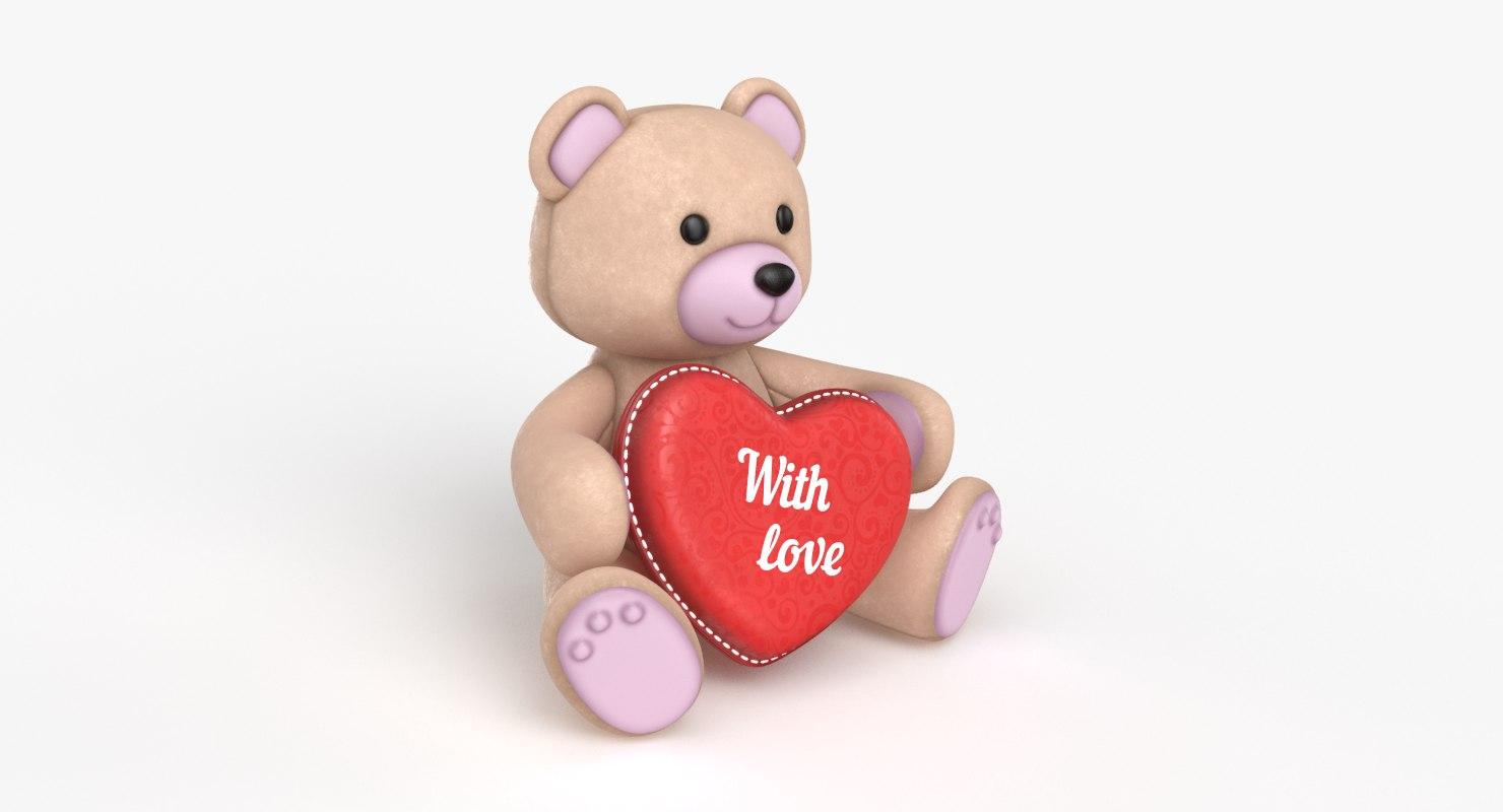 3D teddy bear heart beige model