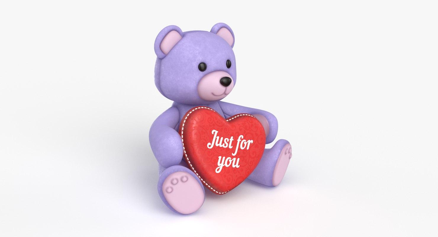teddy bear heart purple 3D